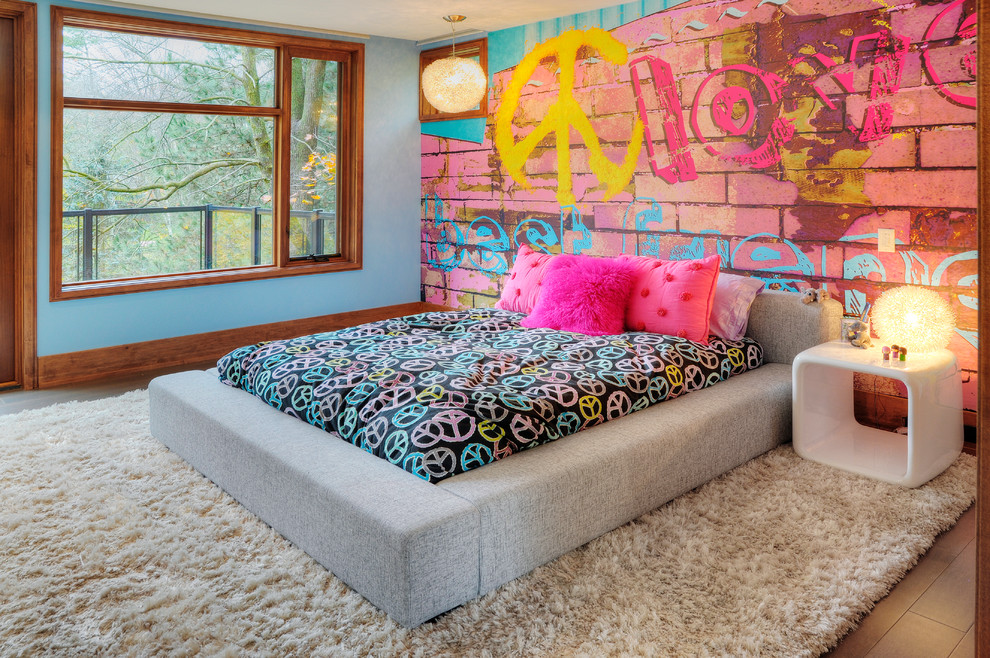 cool-beds-for-teens-Kids-Eclectic-with-accent-wall-bedside-table